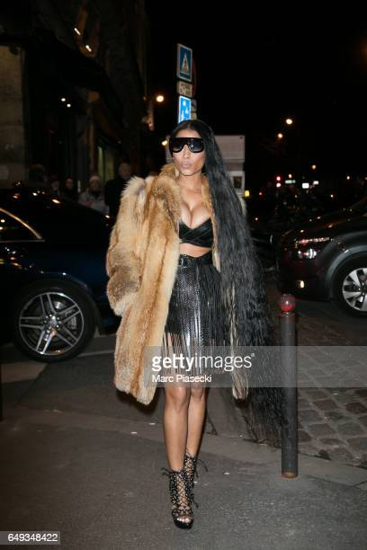 Singer Nicki Minaj arrives to attend the 'V Magazine' dinner at Laperouse restaurant on March 7 2017 in Paris France
