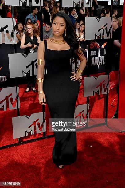 Singer Nicki Minaj attends the 2014 MTV Movie Awards at Nokia Theatre LA Live on April 13 2014 in Los Angeles California