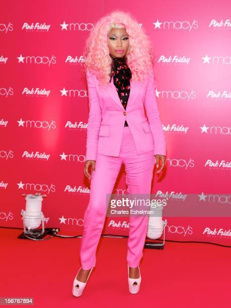 Singer Nicki Minaj introduces 'Pink Friday' Fragrance Holiday Season Celebration at Macy's Queens Center on November 20 2012 in the Queens borough of...