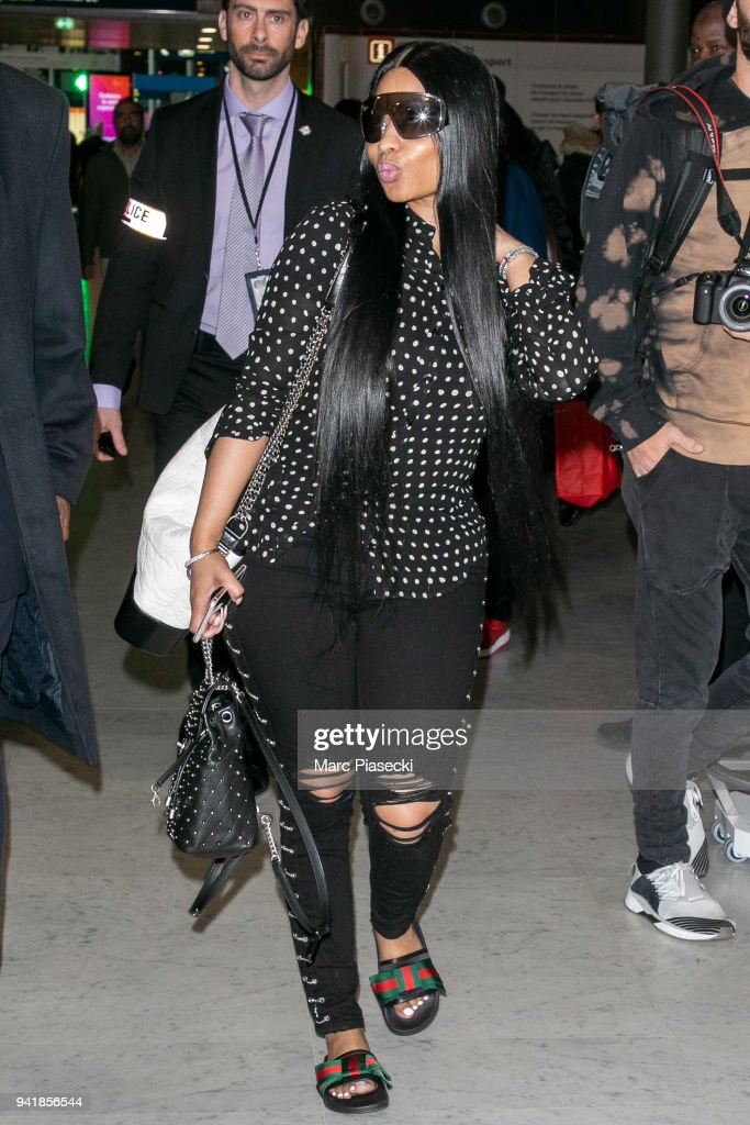 cb6336a65e2348 Nicki Minaj Sighting In Paris - April 4, 2018. PARIS, FRANCE - APRIL 04: Singer  Nicki Minaj is seen at Charles-de-Gaulle airport ...
