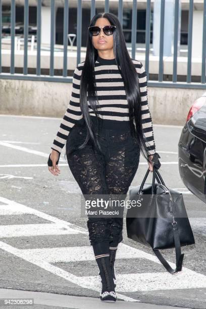 Singer Nicki Minaj is seen at CharlesdeGaulle airport on April 5 2018 in Paris France