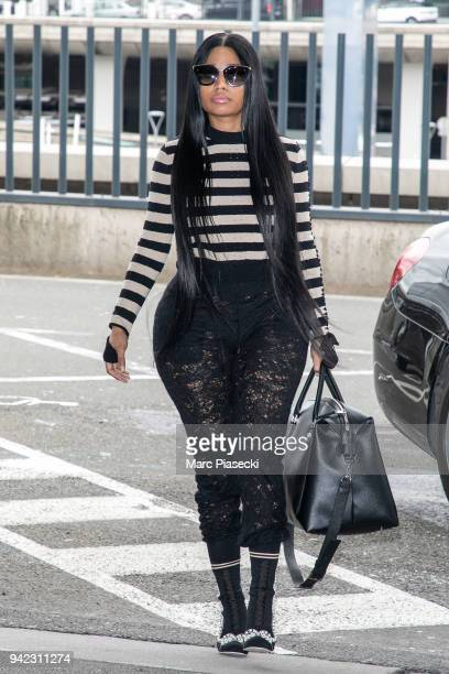 Singer Nicki Minaj is seen at CharlesdeGaulle airport on April 5 2018 in Paris France