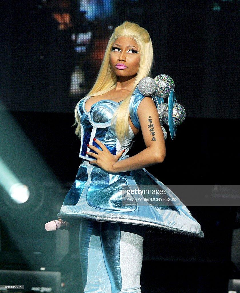 Singer Nicki Minaj performs on Dick Clark's New Year's Rockin' Eve at Los Angeles Center Studios on December 31, 2011 in Los Angeles, California.