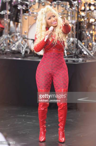 Singer Nicki Minaj performs on NBC's 'Today' at Rockefeller Plaza on August 14 2012 in New York City