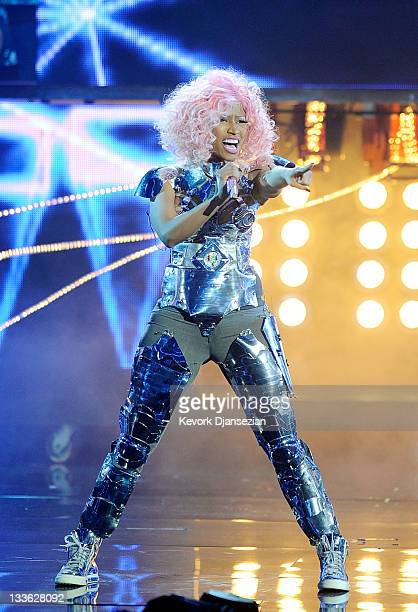 Singer Nicki Minaj performs onstage at the 2011 American Music Awards held at Nokia Theatre LA LIVE on November 20 2011 in Los Angeles California