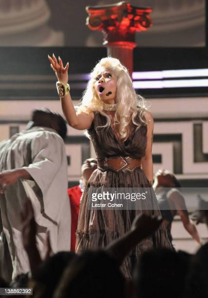 Singer Nicki Minaj performs onstage at The 54th Annual GRAMMY Awards at Staples Center on February 12 2012 in Los Angeles California