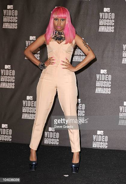 Singer Nicki Minaj poses in the press room at the 2010 MTV Video Music Awards held at Nokia Theatre LA Live on September 12 2010 in Los Angeles...