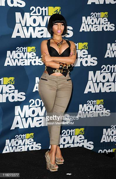 Singer Nicki Minaj poses in the press room during the 2011 MTV Movie Awards at Universal Studios' Gibson Amphitheatre on June 5 2011 in Universal...