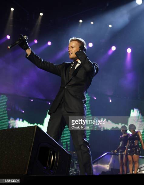 Singer Nicky Byrne of Westlife performs at Wembley Arena on March 28 2008 in London England