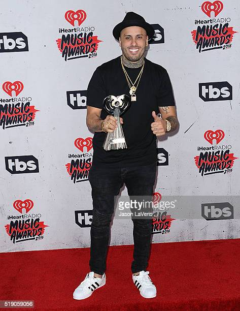 Singer Nicky Jam poses in the press room at the iHeartRadio Music Awards at The Forum on April 3 2016 in Inglewood California
