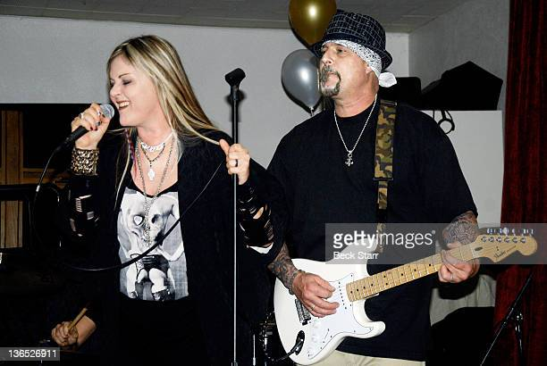 Singer Nicky Trebek and guitarist Anthony Gallo perform on New Year's Eve at United Methodist Church on December 31 2011 in Sherman Oaks CA
