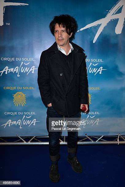 Singer Nicola Sirkis attends a photocall prior to the 'Amaluna' show from Cirque Du Soleil at Parc de Bagatelle on November 5 2015 in Paris France