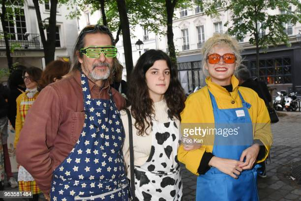 Singer Nicolas Baby from FFF band , his daughter and his wife Rebecca Baby attend Zelia Van Den Bulke Aprons show At Zelia Abbesses Shop on May 1,...