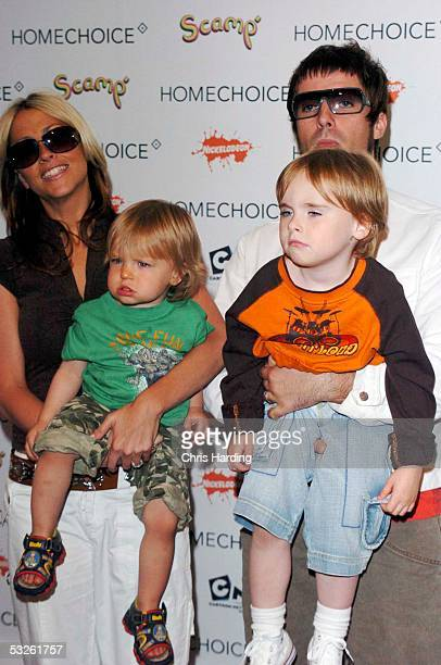 Singer Nicole Appleton boyfriend musician Liam Gallagher of Oasis their son Gene and what may be Appleton's nephew Ace Howlett attend the HomeChoice...