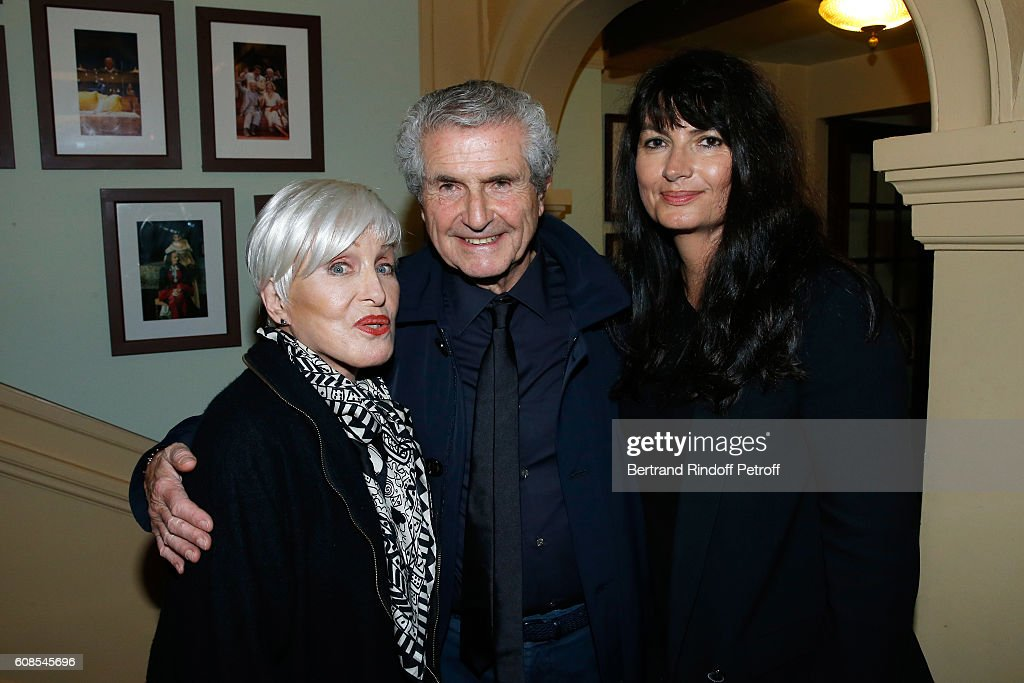 Singer Nicole Croisille, Director Claude Lelouch and his companion Valerie Perrin attend the 'Tout ce que vous voulez' : Theater Play at Theatre Edouard VII on September 19, 2016 in Paris, France.