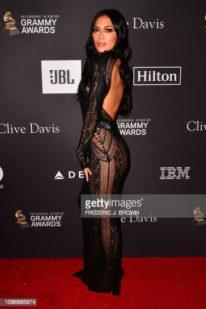 US singer Nicole Scherzinger arrives for the traditional Clive Davis party on the eve of the 61th Annual Grammy Awards at the Beverly Hilton hotel in...