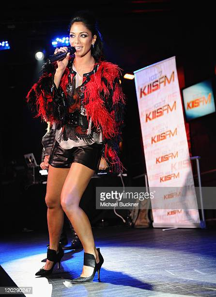 Singer Nicole Scherzinger performs at the Hard Rock Cafe presented by 1027 KIIS FM on August 3 2011 in Hollywood California