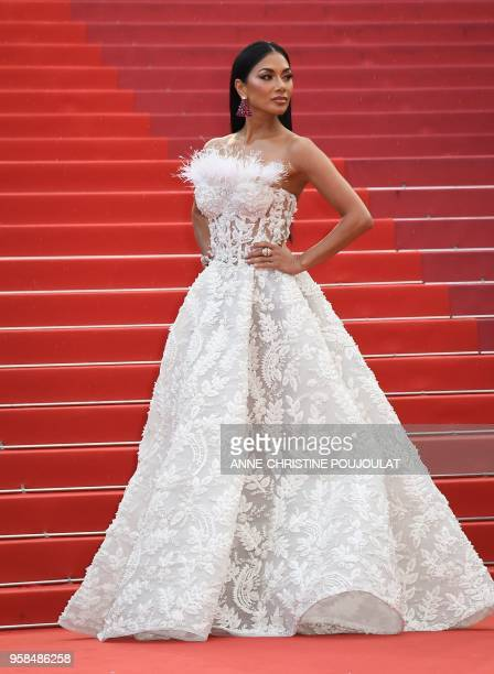 US singer Nicole Scherzinger poses as she arrives on May 14 2018 for the screening of the film BlacKkKlansman at the 71st edition of the Cannes Film...