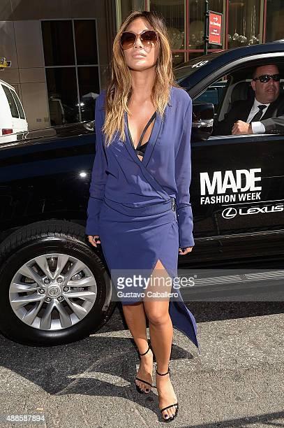 Singer Nicole Scherzinger seen around Skylight at Moynihan Station Spring 2016 New York Fashion Week The Shows Day 7 on September 16 2015 in New York...