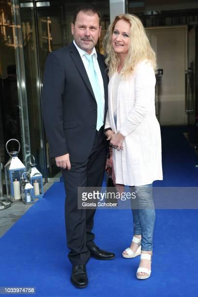 Singer Nicole Seibert and her husband Winfried Seibert during the arrival to the wedding dinner of Ralph Siegel and Laura Kaefer at Palais Lenbach on...
