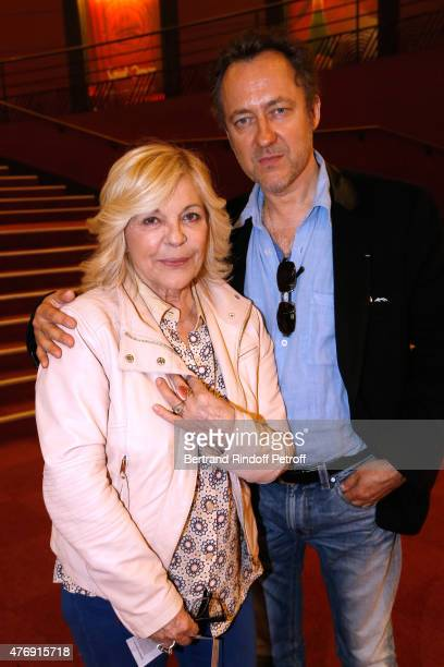 Singer Nicoletta and her husband Jean Christophe Molinier attend Humorist Berangere Krief Performs at L'Olympia on June 12 2015 in Paris France