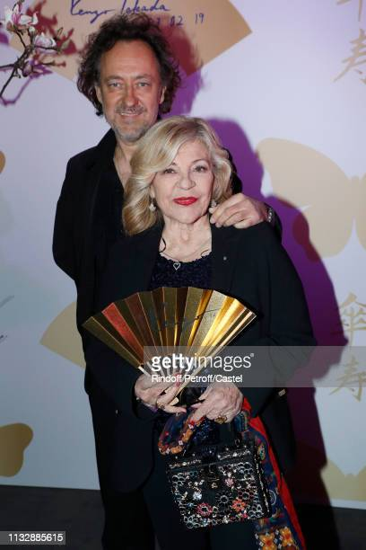 Singer Nicoletta and her husband Jean-Christophe Molinier attend the 80th Kenzo Takada Birthday Party at Pavillon Ledoyen on February 28, 2019 in...