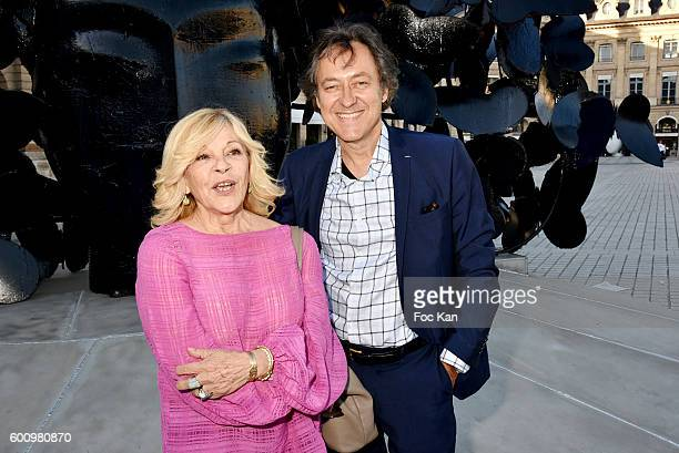 Singer Nicoletta and Jean Christophe Molinier attend the Manolo Valdes Exhibition Preview at Place Vendome on September 8 2016 in Paris France
