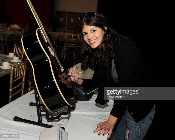 Singer Nikki Yanofsky poses during 2011 MusiCares Person Of The Year Tribute To Barbra Streisand rehearsals at Los Angeles Convention Center on...