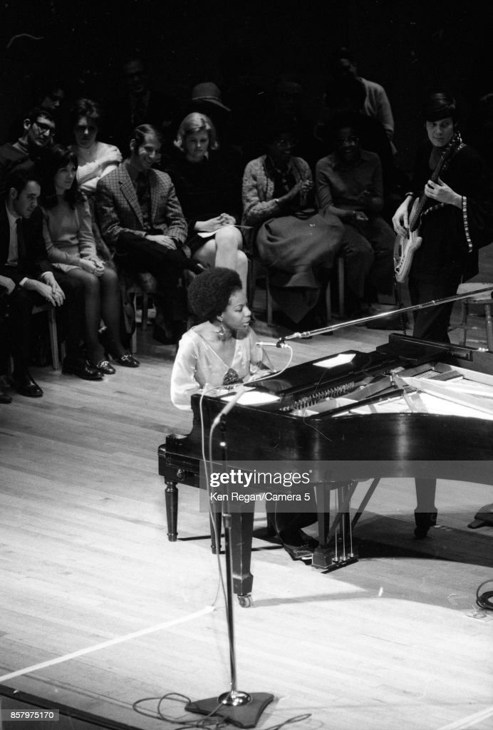 Singer Nina Simone is photographed performing at the Metropolitan Museum of Art on February 4, 1969 in New York City.