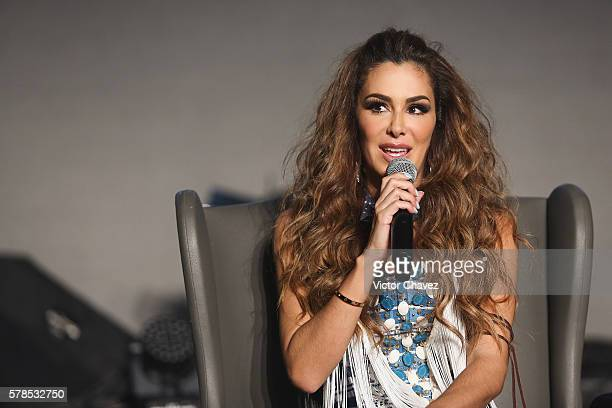 Singer Ninel Conde attends a press conference to promote her new single Te Pesara at 360 on July 21 2016 in Mexico City Mexico