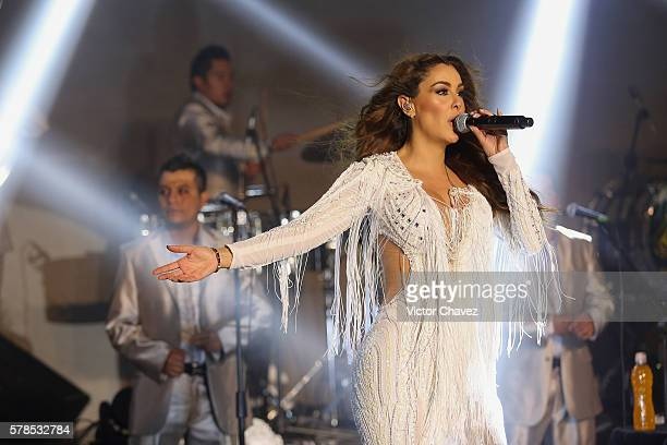 Singer Ninel Conde performs a showcase for the press to promote her new single Te Pesara at 360 on July 21 2016 in Mexico City Mexico