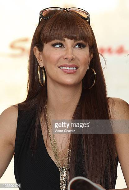 Singer Ninel Conde signs copies of her cover of H Para Hombres magazine at Plaza Cuicuilco on November 16 2010 in Mexico City Mexico