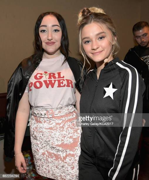 Singer Noah Cyrus and Actor Lizzy Greene in the green room at Nickelodeon's 2017 Kids' Choice Awards at USC Galen Center on March 11 2017 in Los...