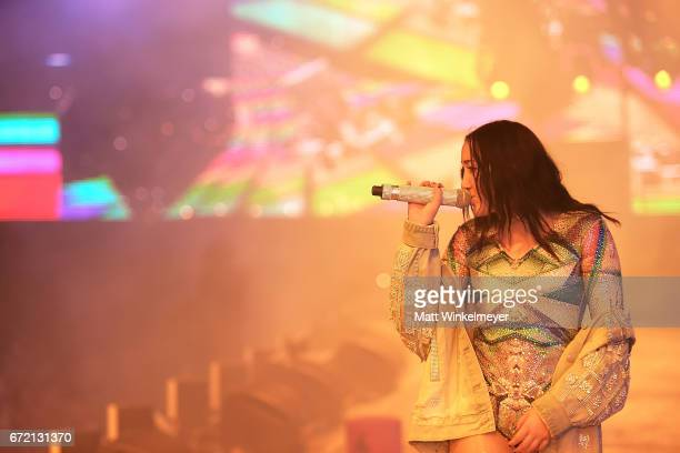 Singer Noah Cyrus performs with Marshmello at the Sahara Tent during day 3 of the Coachella Valley Music And Arts Festival at the Empire Polo Club on...