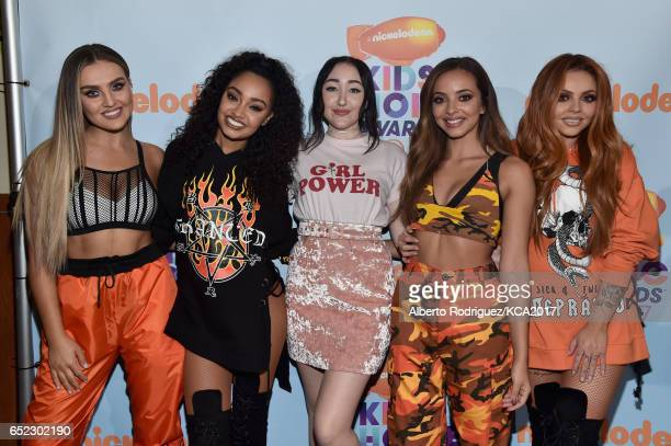 Singer Noah Cyrus with Singers Perrie Edwards LeighAnne Pinnock Jesy Nelson and Jade Thirlwall of Little Mixbackstage at Nickelodeon's 2017 Kids'...