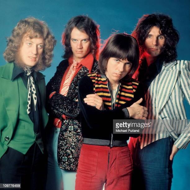 Singer Noddy Holder drummer Don Powell guitarist Dave Hill and bassist Jim Lea of British glam rock band Slade circa 1974