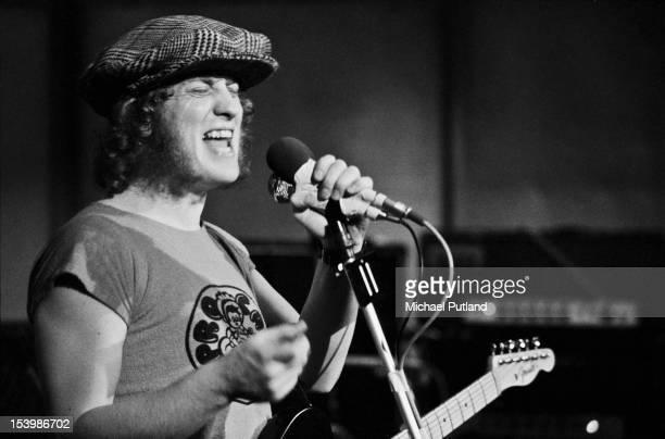 Singer Noddy Holder of British rock band Slade recording a song at Command Studios London October 1971