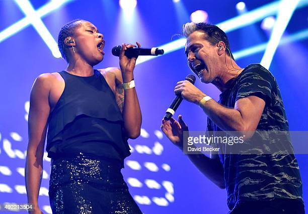 Singer Noelle Scaggs and frontman Michael Fitzpatrick of Fitz and The Tantrums performs at the 10th annual Wine Amplified festival at the Las Vegas...