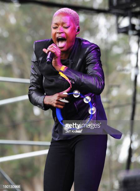 Singer Noelle Scaggs of the band Fitz and The Tantrums performs at the Lands End Stage during day 1 of the 2012 Outside Lands Music and Arts Festival...
