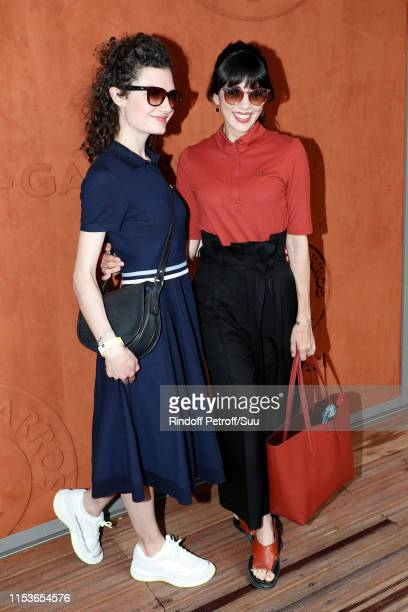 Singer Nolwenn Leroy and her sister Kay le Magueresse attend the 2019 French Tennis Open Day Ten at Roland Garros on June 04 2019 in Paris France