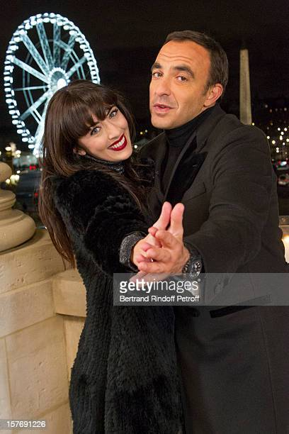 Singer Nolwenn Leroy and television show host Nikos Aliagas attend the shooting of the year end program Toute la musique qu'on aime set to be...