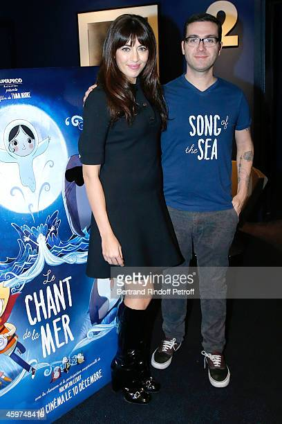 Singer Nolwenn Leroy wearing a Gucci dress is the Mother's voice and sings 2 songs in the movie and Director Tomm Moore attend the 'Le Chant de la...