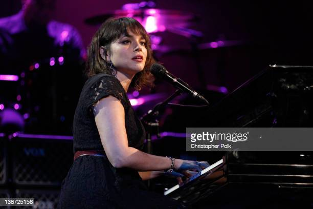Singer Norah Jones performs onstage at The 2012 MusiCares Person Of The Year Gala Honoring Paul McCartney at Los Angeles Convention Center on...