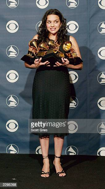 Singer Norah Jones with her five Grammy Awards for Best Pop Vocal Album for 'Come Away With Me' Best Female Pop Vocal Performance for 'Don't Know...