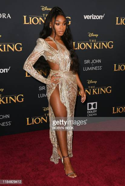 "Singer Normani arrives for the world premiere of Disney's ""The Lion King"" at the Dolby theatre on July 9, 2019 in Hollywood."