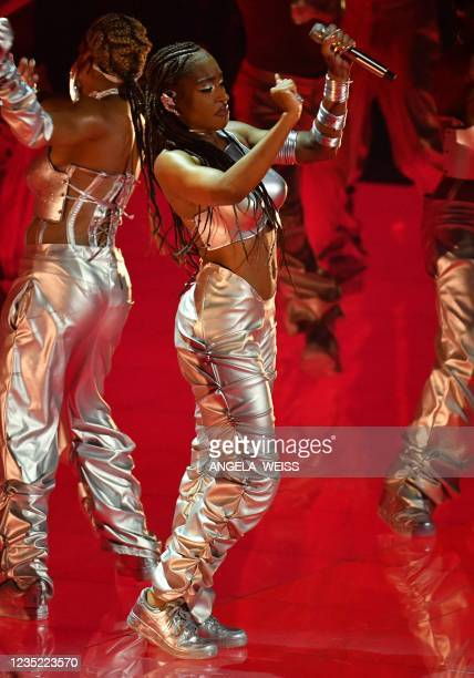 Singer Normani performs on stage during the 2021 MTV Video Music Awards at Barclays Center in Brooklyn, New York, September 12, 2021.