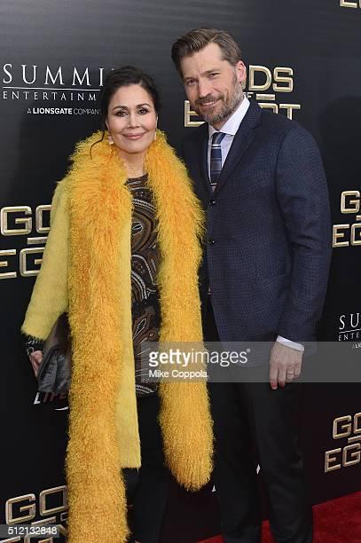 Singer Nukaaka CosterWaldau and actor Nikolaj CosterWaldau attend the 'Gods Of Egypt' New York Premiere at AMC Loews Lincoln Square 13 on February 24...