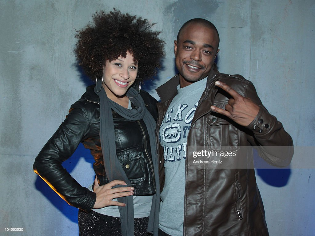 Singer Oceana and Leon Taylor attend a press conference to promote the 'Bundesvision Song Contest 2010' at the Max-Schmeling Hall on September 30, 2010 in Berlin, Germany.
