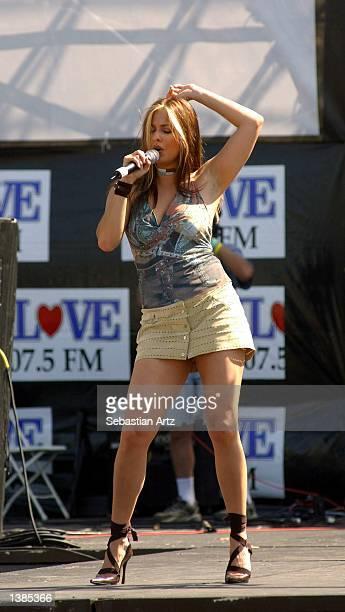 Singer Odalys Garcia performs at Fiesta de Independencia 2002 on September 15 2002 in El Monte California