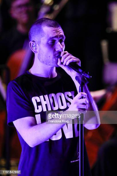 Singer of Bastille Dan Smith performs on stage at the Channel Aid Live in concert at Elbphilharmonie on January 4 2020 in Hamburg Germany